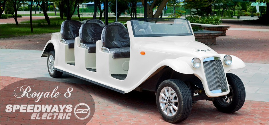8 seater electric golf cart, luxury sightseeing vehicle.
