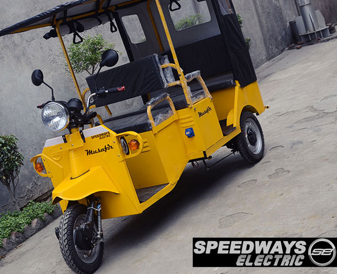 Electric rickshaws in many vibrant colors and custom options.
